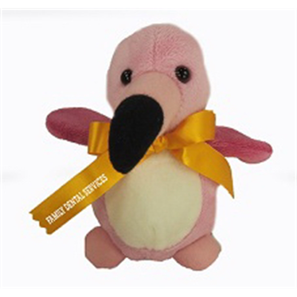 """5"""" Baby Flamingo with ribbon and one color imprint"""