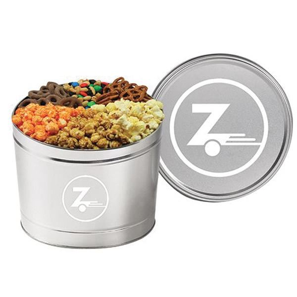 6 Way Tin / 1.5 Gallon - Six way divided tin with flavored popcorn and other snacks. 1.5 gallon.