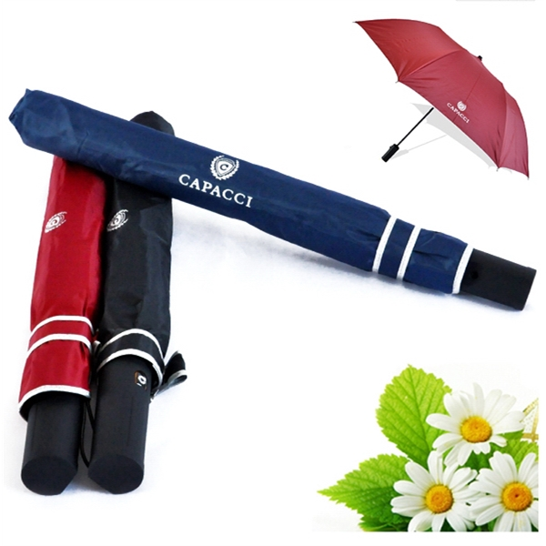 High Quality Semi-Automatic 2 Fold Umbrella with iron shaft