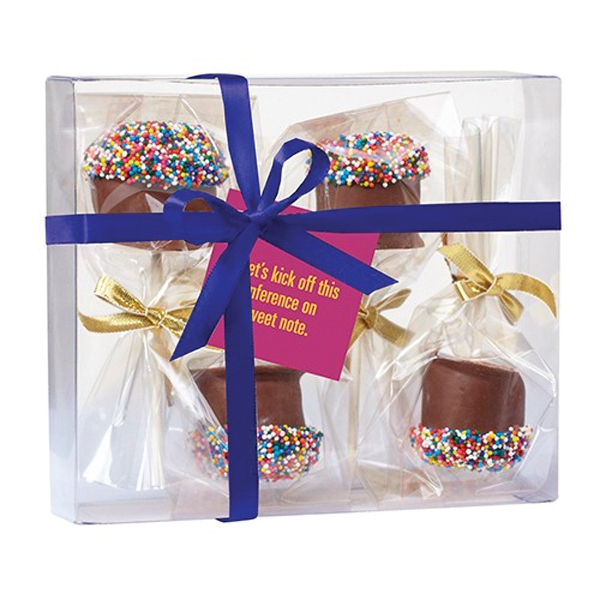 Chocolate Covered Marshmallow Pop Gift Box - 4 Chocolate covered marshmallows with rainbow nonpareil sprinkles