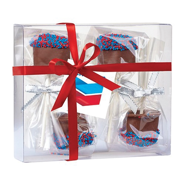 Chocolate Covered Marshmallow Pop Gift Box - 4 Chocolate covered marshmallows with nonpareil sprinkles