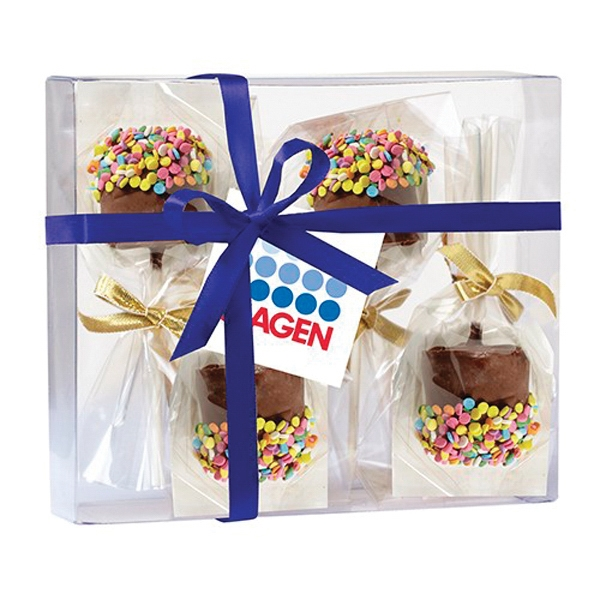 Chocolate Covered Marshmallow Pop Gift Box - 4 Chocolate covered marshmallows with confetti sprinkles