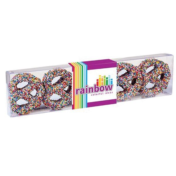 Chocolate Covered Pretzel Knot Sensation - Chocolate covered pretzel knots with rainbow nonpareil sprinkles