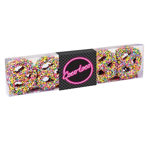 Chocolate Covered Pretzel Knot Sensation - Chocolate covered pretzel knots with confetti sprinkles