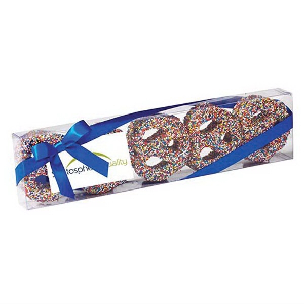 Elegant Chocolate Covered Pretzel Knot Sensation - Chocolate covered pretzel knots with rainbow nonpareil sprinkles