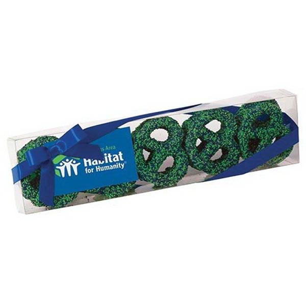 Elegant Chocolate Covered Pretzel Knot Sensation - Chocolate covered pretzel knots with nonpareil sprinkles