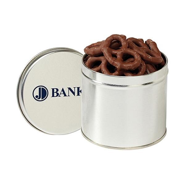 Round 1/2 Quart Tin / Chocolate Covered Pretzels