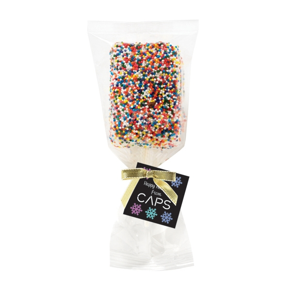 Chocolate Covered Krispy Pop With Rainbow Sprinkles