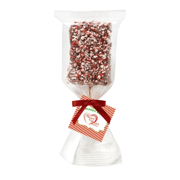 Chocolate Covered Krispy Pop With Peppermint Bits