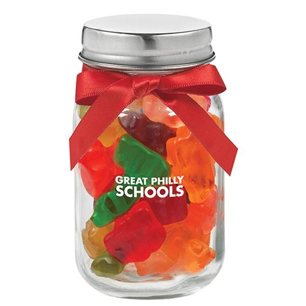 4 oz Glass Mason Jar With Gummy Bears