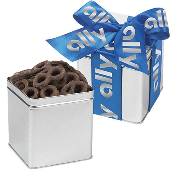 Classic Chocolate Covered Pretzels Present Tin