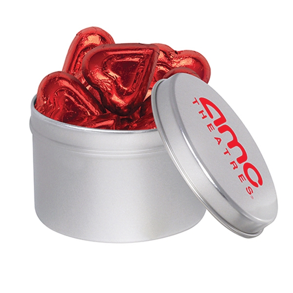 1/4 Quart Round Tin / Chocolate Foil Hearts