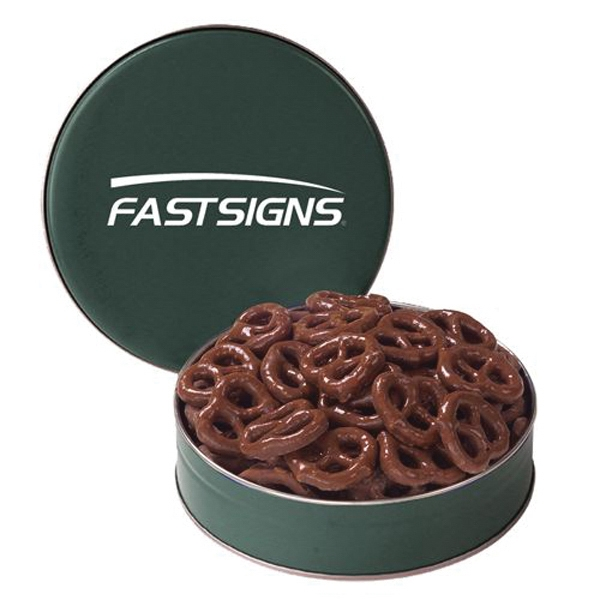 Snack Tin with Chocolate Covered Pretzels