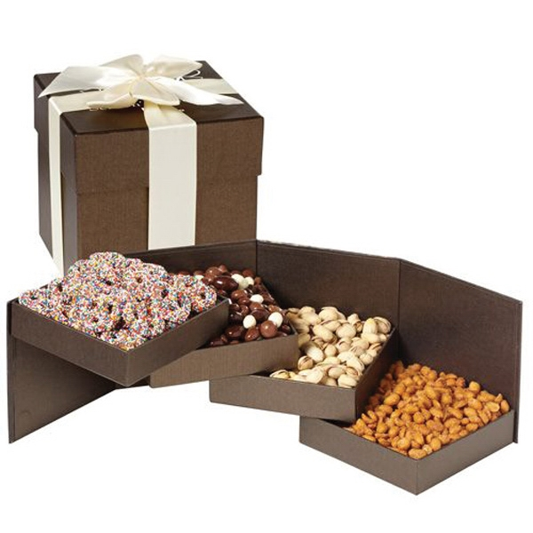 Supreme Delight - 2 Tier elegant swivel gift box with chocolate covered almonds and pistachios.
