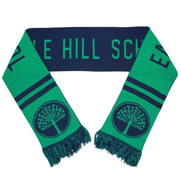 custom knitted soccer scarf with fringe