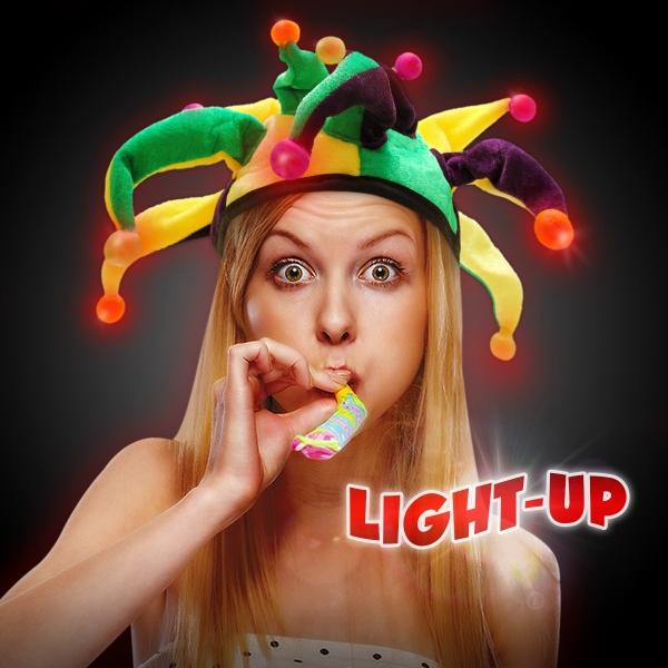 Light-Up LED Glow Mardi Gras Hat