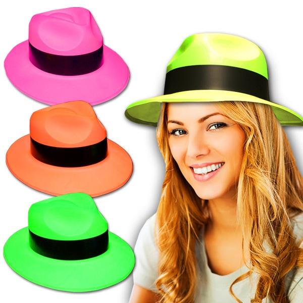 Neon Plastic Fedora Gangster Hat