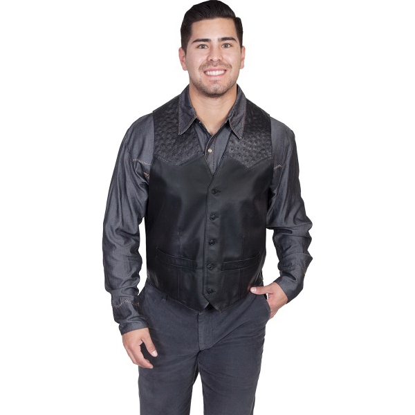 Leather Vest With Ostrich Trim