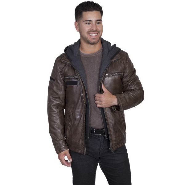 Leather Jacket With Zip Out Front & Hood