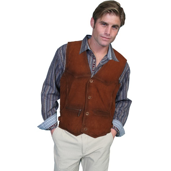 Buffed Lamb Suede Leather Vest