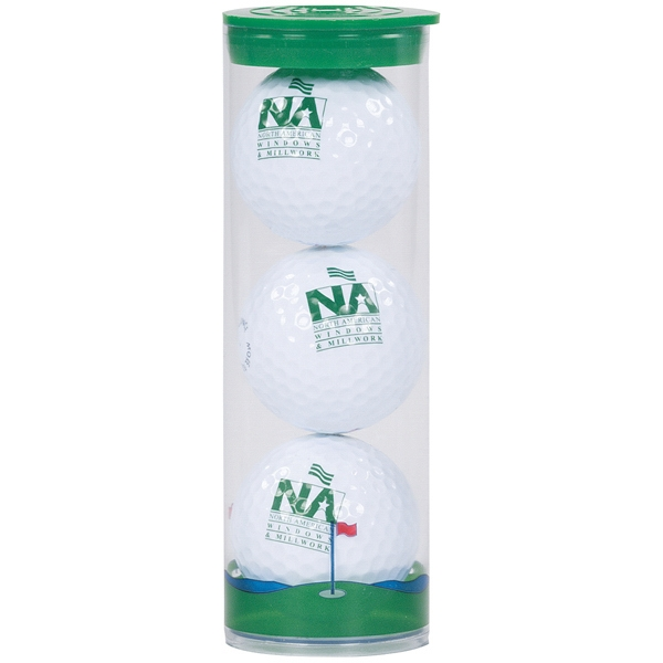 3 Ball Clear Tube w/ Pinnacle Rush Golf Balls