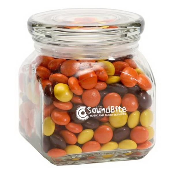 Reeces Pieces in Small Glass Jar - Small Glass Jars Filled With Reeces Pieces