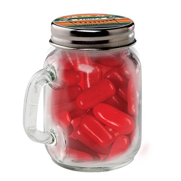 Mason Jar with Hot Tamales