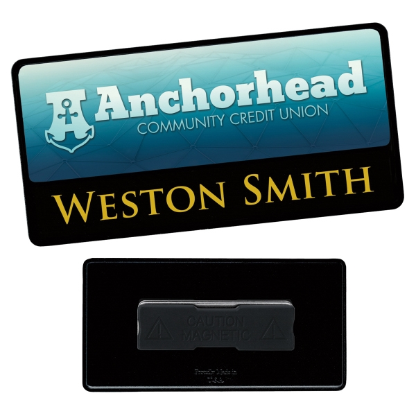 """3"""" x 1-1/2"""" Combo Metal Name Tag - Good Value (R)"""