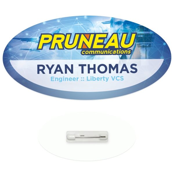 "3"" x 1-1/2"" Oval Economy Name Tag - Good Value (R)"