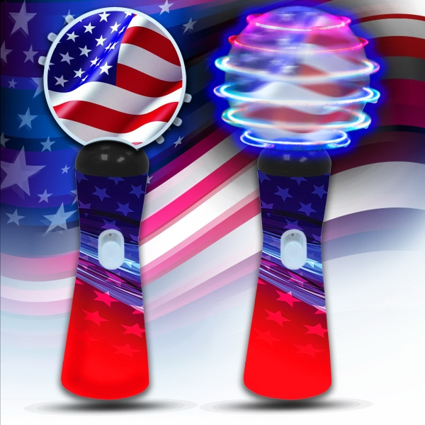"""Patriotic LED 9"""" Coin Spinner Wand"""