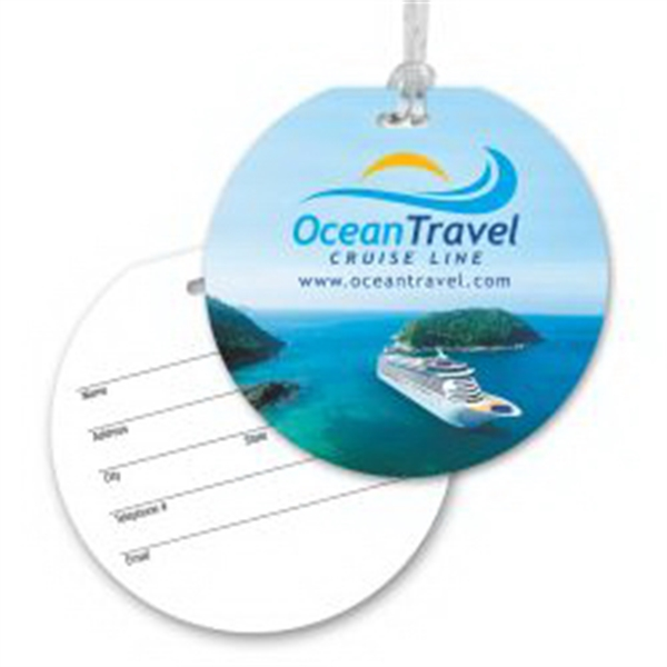 Round Luggage Tag with Clear Strap -