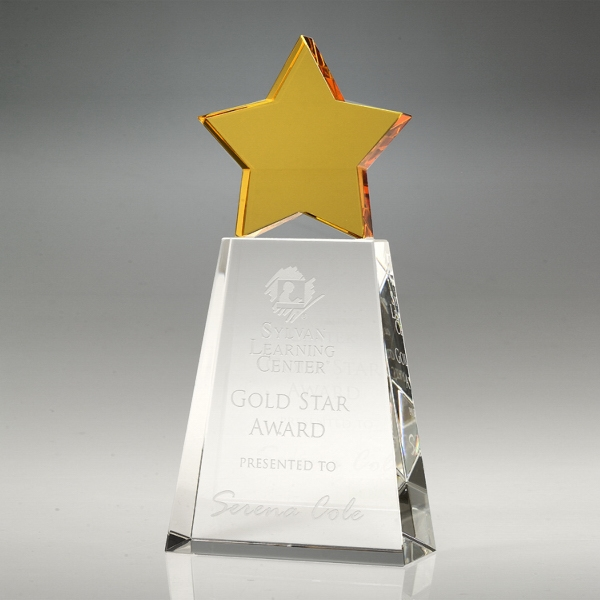 """Award-Golden Star With Clear Base 8"""""""