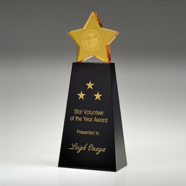 "Award-Golden Star With Black Base 6"""