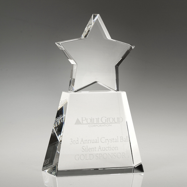 "Award-Clear Star With Clear Base 7"""