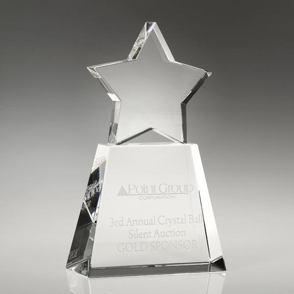 "Award-Clear Star With Clear Base 8"""
