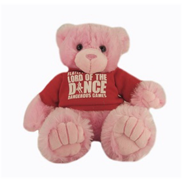 """9"""" Pink Peter Bear with t-shirt and one color imprint"""