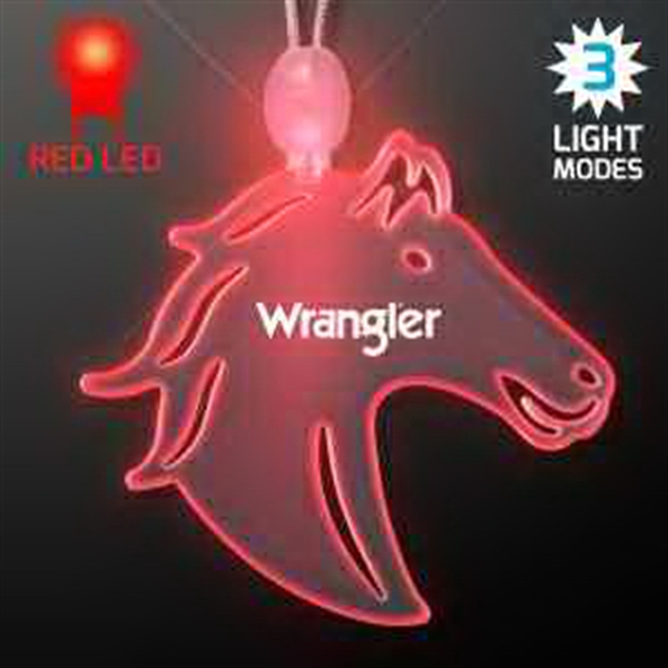 Acrylic Horse Head Shape Necklace with Red LED