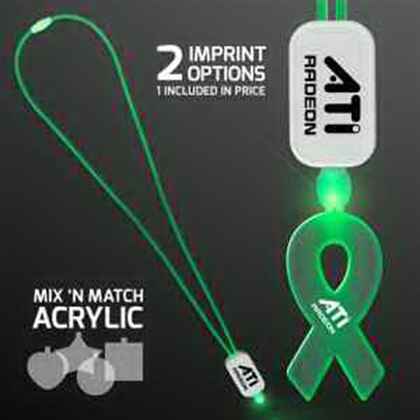 LED Neon Green Lanyard with Acrylic Ribbon Pendant