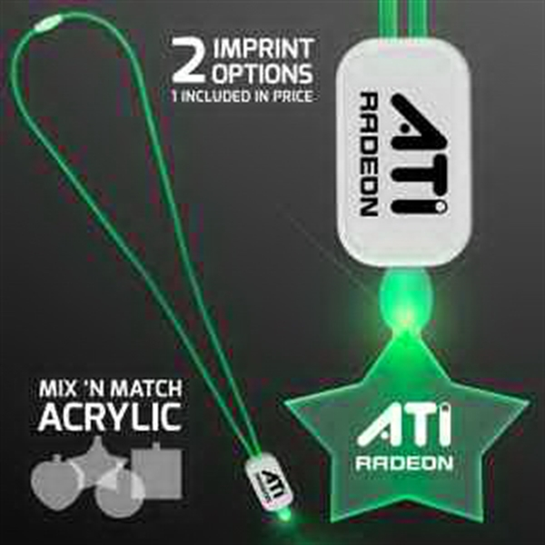 LED Neon Green Lanyard with Acrylic Star Pendant