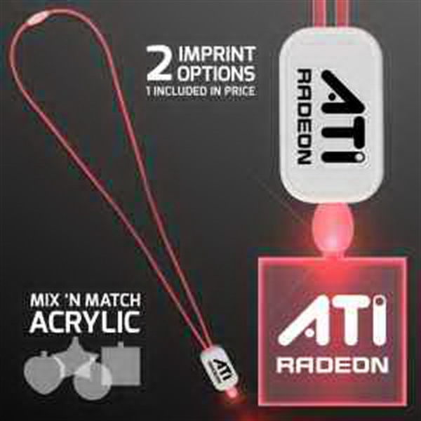 LED Neon Red Lanyard with Acrylic Square Pendant