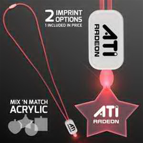 LED Neon Red Lanyard with Acrylic Star Pendant
