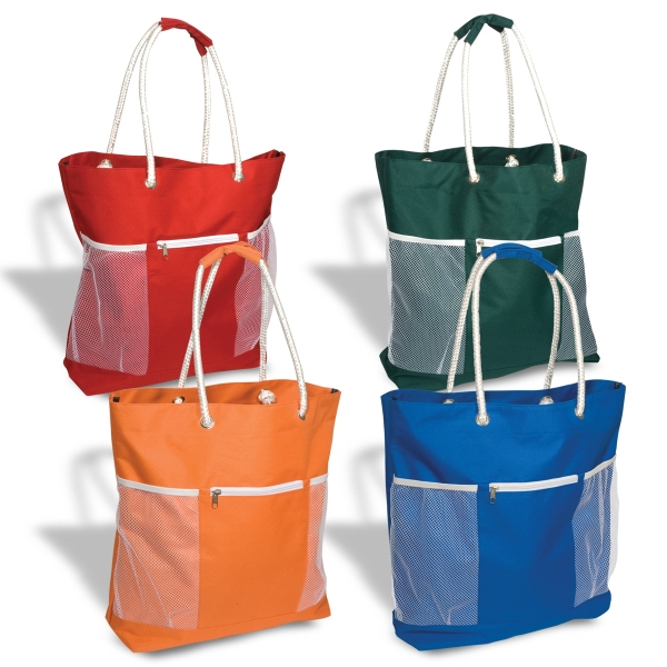 Seaside Tote - Tote bag, 600 denier polyester with zippered front pocket.