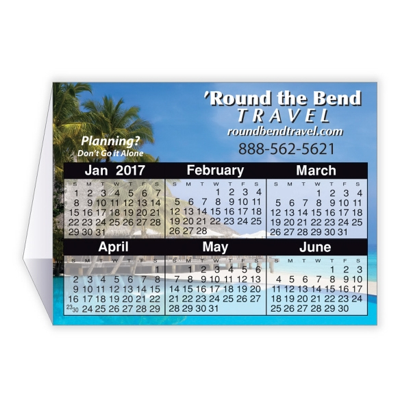 "4"" x 9"" Calendar Tent Card - 4"" x 9"" Calendar tent card folds to 3"" x 4"" and fits in a #10 envelope."