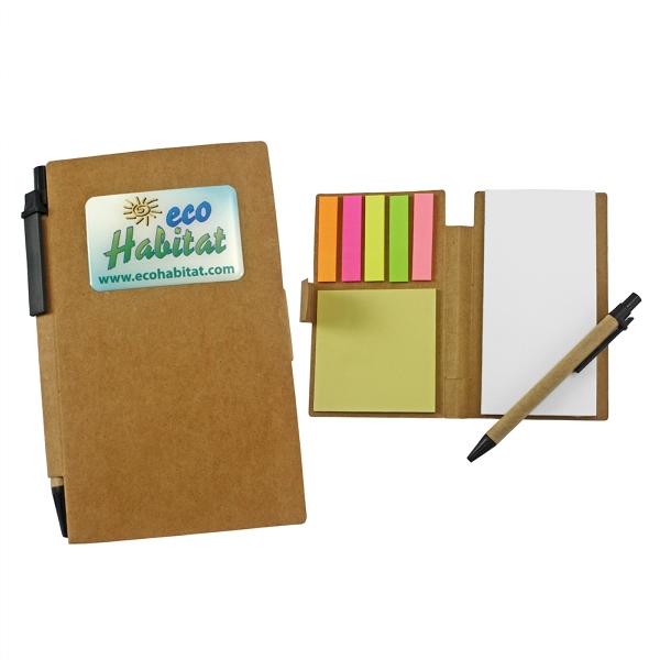 Eco- Friendly Sticky Note Tan Pocket Jotter w/Pen
