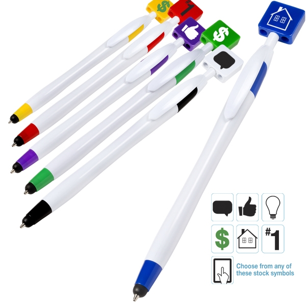 Billboard Pen/Stylus - ABS plastic click action ballpoint pen with soft silicone stylus tip.