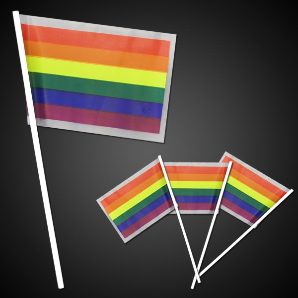 "Rainbow Plastic Flags 4"" x 6"""