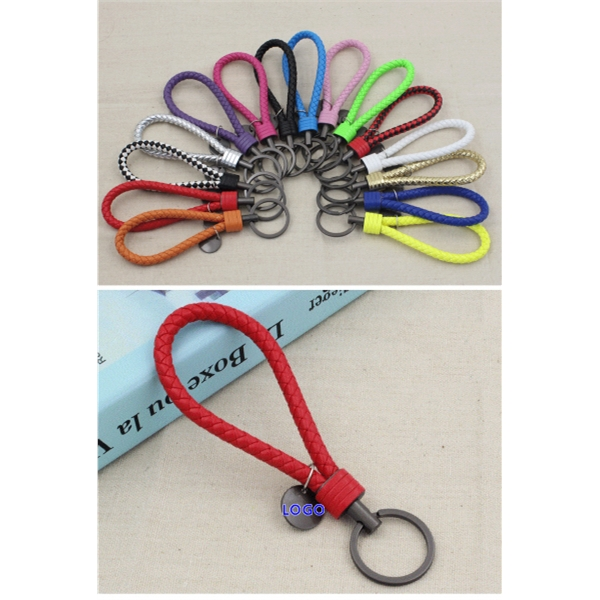 Leather Knitting Cord Keychain
