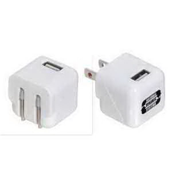 AC to USB Adapter with Foldable Prongs