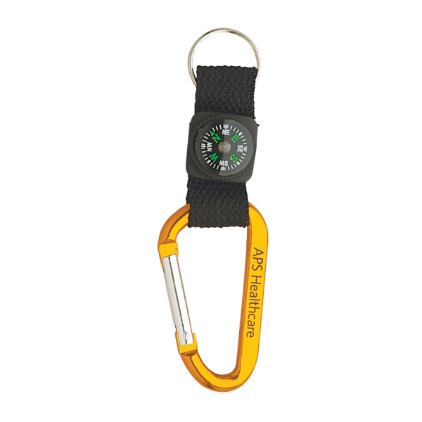 Clearance Item! Anodized Aluminum Carabiner w/Strap, Compass