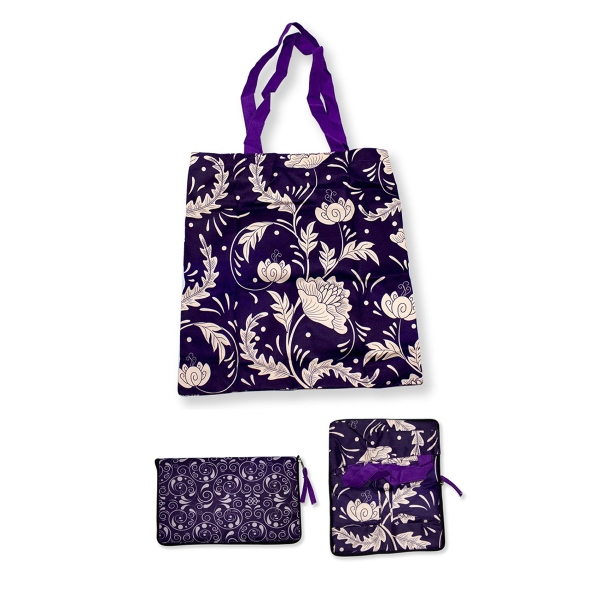 "Foldable Cotton Bag  with Zipper 15"" x 16"" with 1"" x 24"" Han"